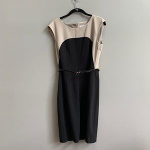 Calvin Klein Black and Tan Belted Sheath Dress